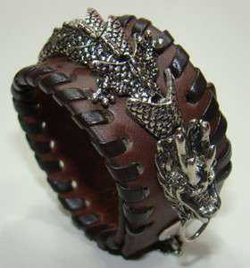 MEN Brown Leather Gothic DRAGON Cuff Wristband Bracelet