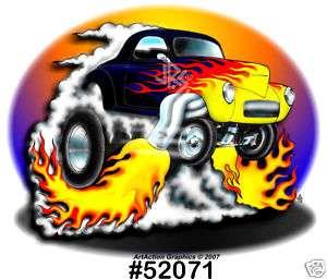 41 Willys HOT ROD DRag Racing Muscle CarTOON T Shirt