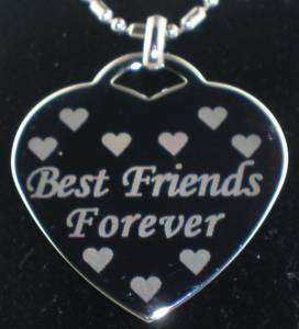 BEST FRIENDS FOREVER Heart Dog Tag Pendant Necklace