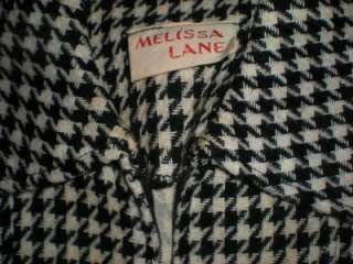 Vtg. Melissa Lane Houndstooth BOHO Hippie Mod Dress