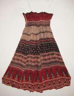 GEETA Hippie Boho Gypsy Indian Ethnic Smock Skirt Dress