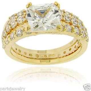 18k Gold over Sterling Silver Diamond Bridal Ring Set