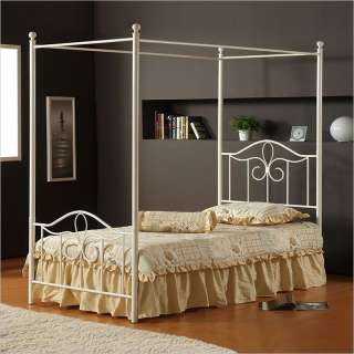 Hillsdale Westfield Metal Canopy Off White Bed