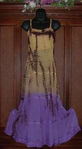 Gradient Tie Dye Long Hippie Tier Dress Retro 2 Colors