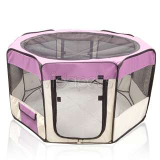 45 Wide Pink 2 Door Soft Pet Playpen Dog Guinea Pig Puppy Exercise