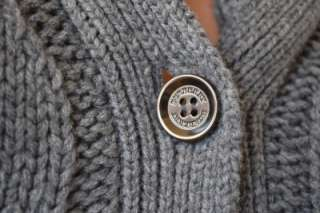 NWT BURBERRY BRIT GREY CASHMERE WOOL LOGO CABLE KNIT BELTED CARDIGAN