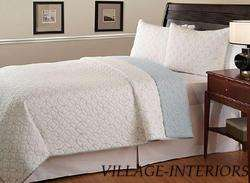 HOTEL CIRRUS WHITE BLUE CIRCLES KING COTTON QUILT SET