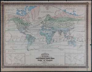 Johnson 1886 Atlas LARGE Hand Colored Antique WORLD Map, double page