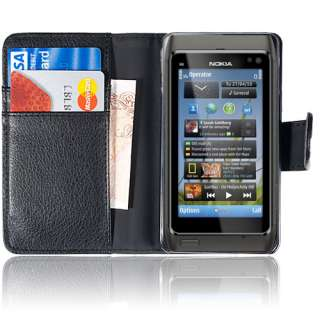 LEATHER WALLET FLIP CASE COVER FOR VARIOUS MOBILE PHONES LCD SCREEN
