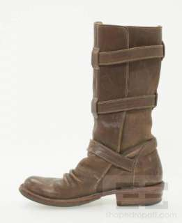 Fiorentini + Baker Brown Leather Multi Strap Brass Buckle Boots Size