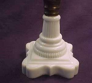 Buckle Early American Pattern Glass Oil Lamp Milk Base