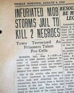 MARION IN Indiana Negro Lynching Hanging 1930 Newspaper