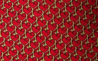 Vintage Christian DIOR Red HEARTS on a string Tie RARE