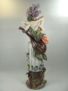 Large French Art Nouveau Majolica Lady Musician, Maiolica, Pottery