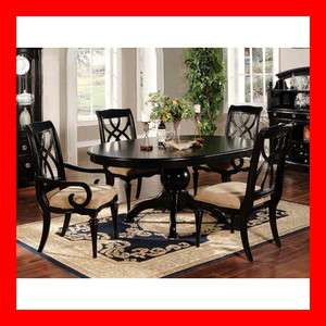 Casual Cottage Black Wood Breakfast Dining Table Fabric Chair 5 Pc Set