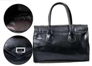 New Womans Black PU Leather Fashion Handbag High Quality Retro Totes