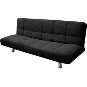 Contemporary Modern Black Microfiber Cover Convertible Futon Sofa Bed