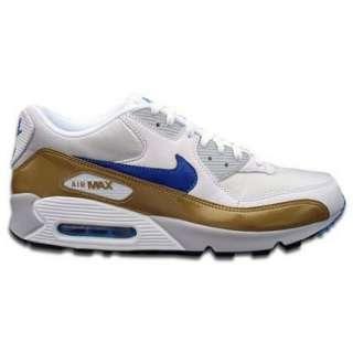 NIKE Air Max 90   Weiss Blau Gold   309299 144  Schuhe