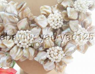 Fresh Water cultured pearl, white fancy and potato pearl, shell flower