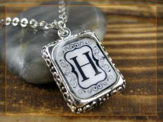 Initial Letter A  R Vintage Silver Square Setting Charm Pendant
