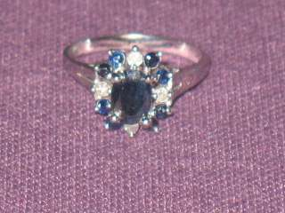 14K White Gold Blue Oval Sapphire Diamond Ring size 6