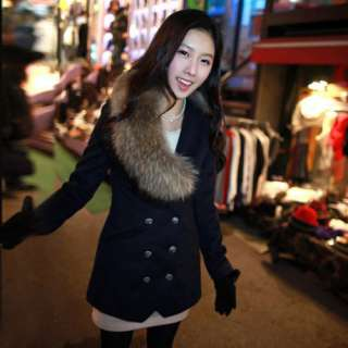 Slim Fit Long Double breasted Wool Coat with Fur Collar Navy Blue/Grey