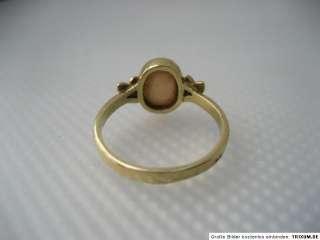 JUGENDSTIL 14k/585 GOLD RING MILCH OPAL um1910 RG17,5