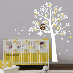 Nursery Wall Decal   Rounded Leaf Tree with Owl