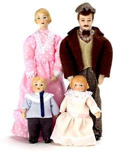 Miniature Porcelain Victorian doll family people Dad/Mom children /New