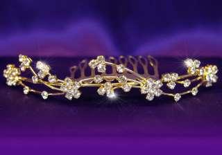 Bridal Wedding Rhinestone Gold Plated Tiara Comb T1060