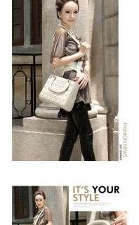 Fashion Celebrity Women Tote Grid PU Leather Clutch Purse Handbag Bag