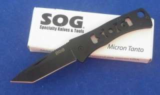 SOG Micron Tanto Black Key Ring Folding Knife