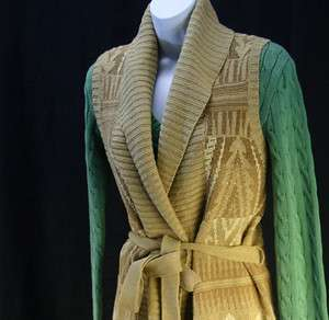 NWT Lauren Ralph Lauren Womens Belted Shawl Knit Vest
