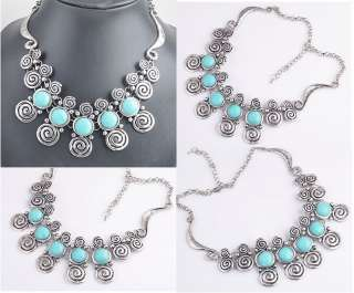 wholesale 1pcs Tibetan silver Alloy mutil flower Turquoise necklace