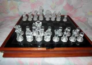 Backgammon dominoes checkers game set glass & wood case EUC