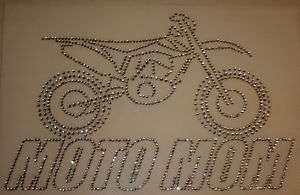 Rhinestone Iron On Transfer ATV Motorcycle Dirt Bike Moto Mom