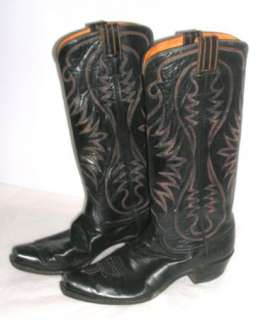 Vintage HYER Mens Tall Black Leather Cowboy Boots, Size 12 EUC. Olathe