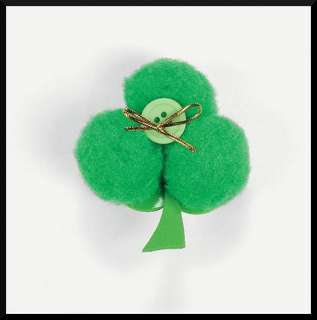 St. Patricks Day Craft Kit for Kids Pin Shamrock 3 Leaf Clover No Glue