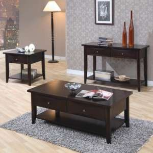 Contemporary Cappuccino Coffee & End Table 3 Piece Set |