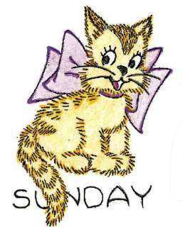 Embroidery Pattern 7 Week Day Kittens for Towels 50s