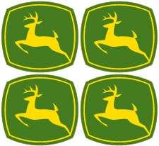 John Deere Logo Vinyl Decal Sticker Set   4 logos   each 1.5 wide