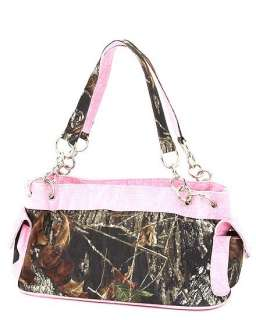 MOSSY OAK CAMO CAMOUFLAGE HANDBAG SATCHEL PURSE PINK TRIM W/ MATCHING
