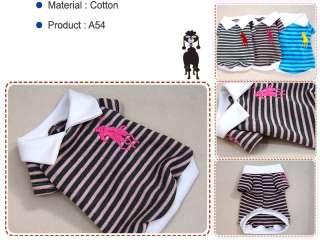 Small Dog Clothes Stripe Top Pet Apparel Polo Shirt,A54