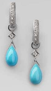 35ct Diamond Turquoise 14k White Gold Lovely Sparkling Earrings