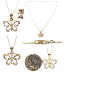 Tone Solid Gold Filigree Butterfly Pendant, Necklace