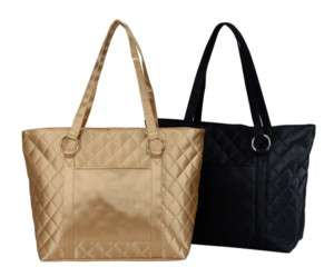 QUILTED MICROFIBER LADIES BUSINESS SHOPPING TOTE BAG