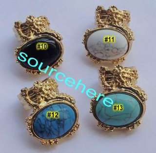 Oval Cocktail Ring Cats Eye Cross Chic Gold Tone Opal Turquoise Rings