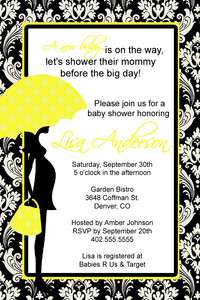 Damask Yellow Baby Shower Invitation and Thank You Card Card Stock