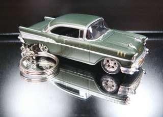 Dark Green 1957 Chevy Belair Keychain Key Ring Fob 57