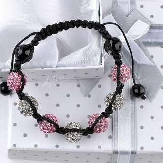 13 Colors Crystal Disco Ball Beads Weave Macrame Hip Hop Bracelet